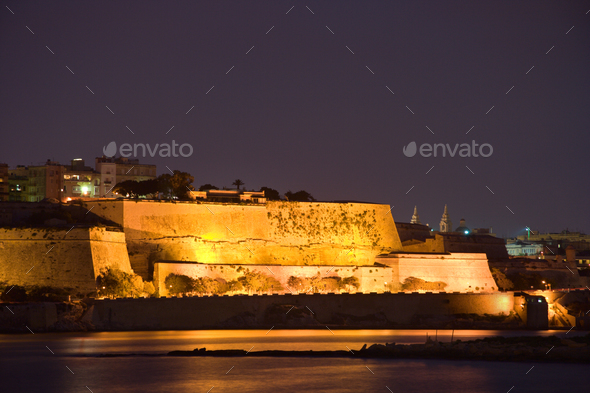Illuminated Walls Of Valletta, Malta - Stock Photo - Images