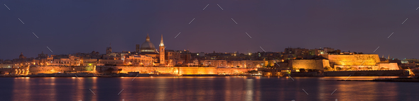 Valletta Panorama At Night, Malta - Stock Photo - Images