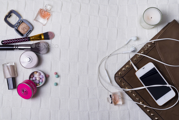 Still life of fashion woman, objects on white - Stock Photo - Images