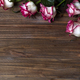 Roses frame on wooden brown background - PhotoDune Item for Sale