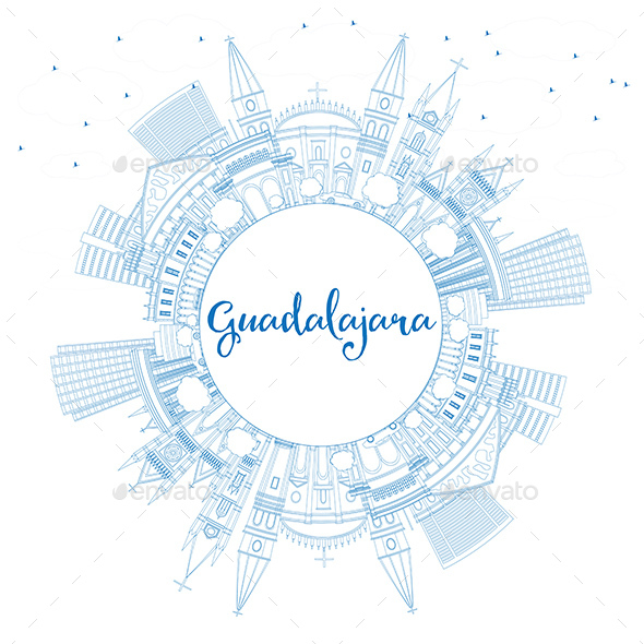 Outline Guadalajara Skyline with Blue Buildings and Copy Space - Buildings Objects