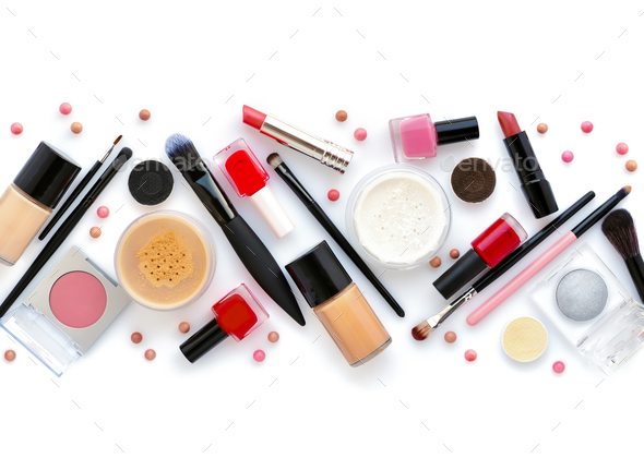 Makeup brush and decorative cosmetics on a white background. Top - Stock Photo - Images