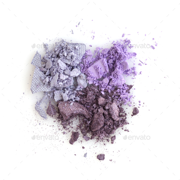 Mixed color eye shadow crushed samples on white background. Top - Stock Photo - Images