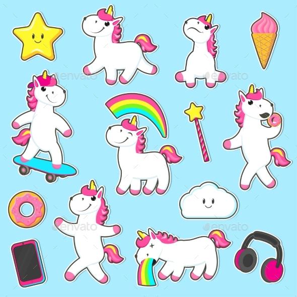 Set of Rainbow Unicorn Character Stickers - Animals Characters