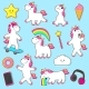 Set of Rainbow Unicorn Character Stickers - GraphicRiver Item for Sale
