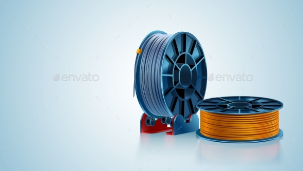 3D Printing Filament Spool or Coil on Holder - Man-made Objects Objects
