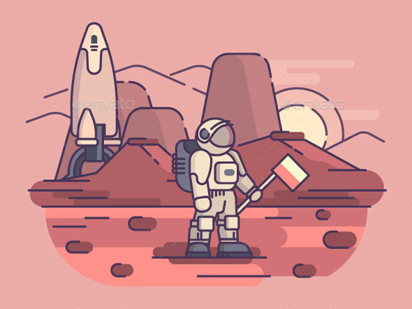 Astronaut on Surface of Planet - People Characters