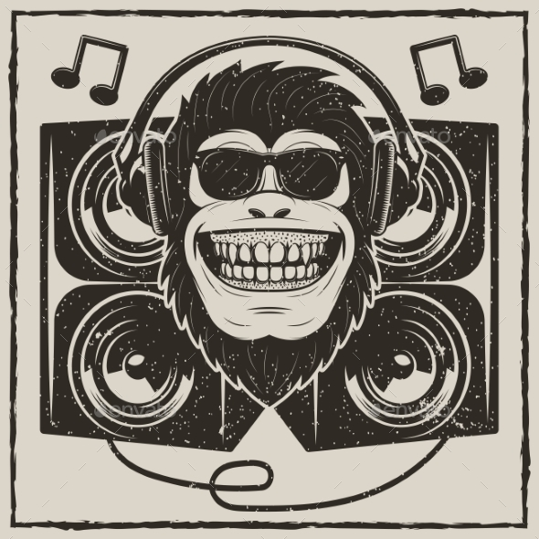 Cool Music Monkey Vector Grunge T-Shirt Printing - Animals Characters