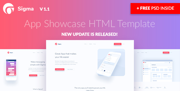 Image of Sigma — App Showcase HTML Template + Stylish Cost Calculator