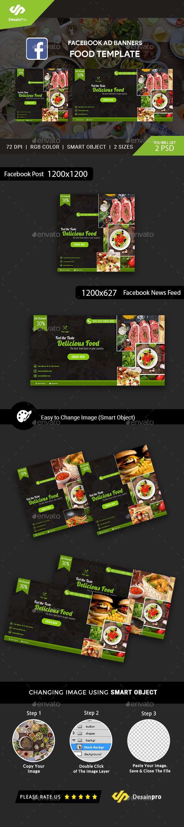 Food Business Services FB Ad Banners - AR - Social Media Web Elements