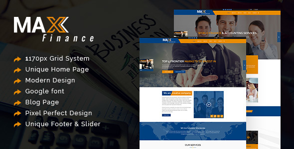 Max Finance - Business, Finance and Professional Services PSD Template - Business Corporate