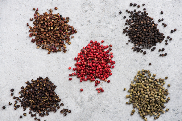 All kinds of pepper seed, spices concept - Stock Photo - Images