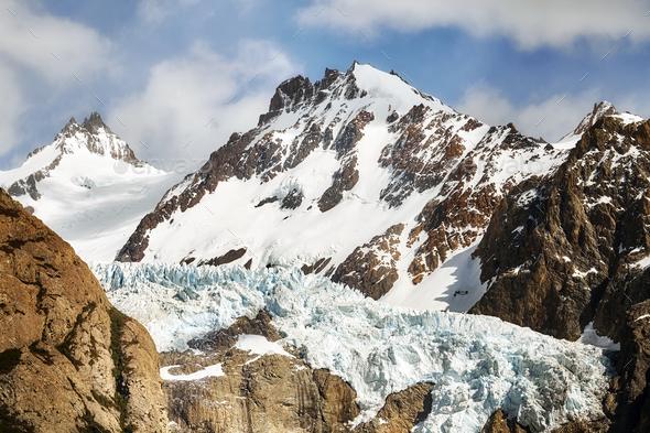 Glacier in the Fitz Roy Mountain Range, Argentina. - Stock Photo - Images