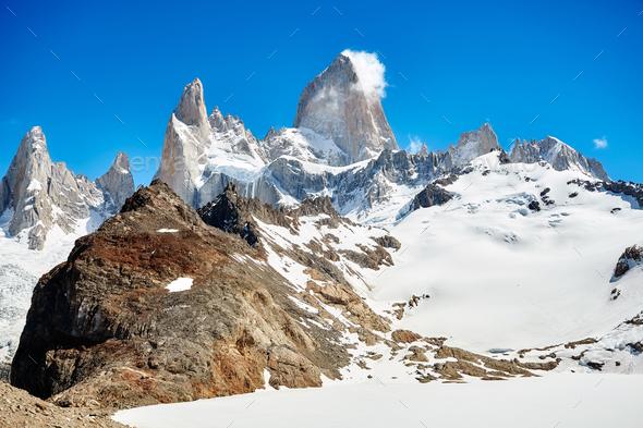 Fitz Roy Mountain Range, Argentina. - Stock Photo - Images