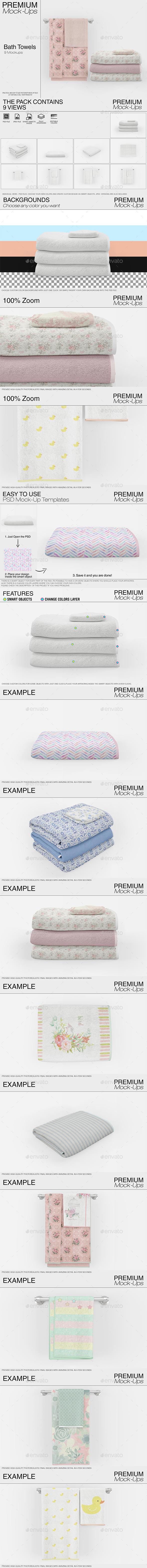 Bath Towels Mockup Set - Print Product Mock-Ups