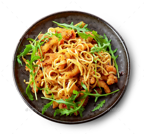 Plate of asian noodles with fried meat - Stock Photo - Images