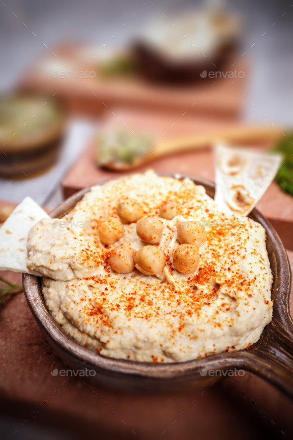 Close up of hummus - Stock Photo - Images