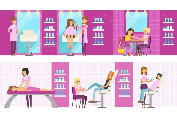 Women In Beauty Salon Enjoying Hair And Skincare - People Characters