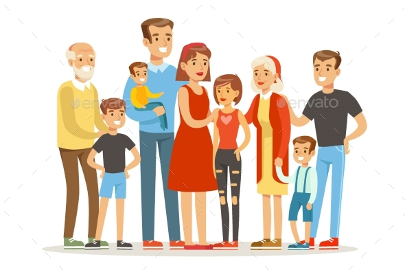 Happy Big Caucasian Family With Many Children - People Characters