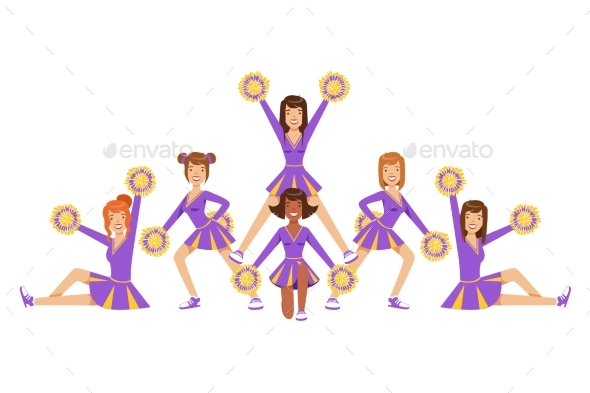 High-School Profession Cheerleading Teams Of Girls - Miscellaneous Vectors
