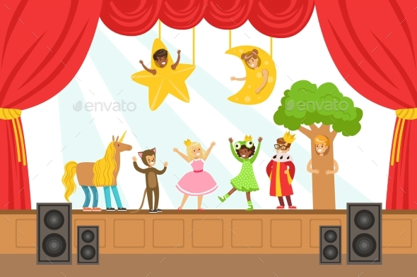 Children Actors Performing Fairy-Tale On Stage On - People Characters