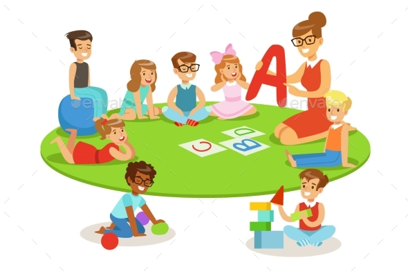 Young Children Learning Alphabet And Playing In - Miscellaneous Vectors