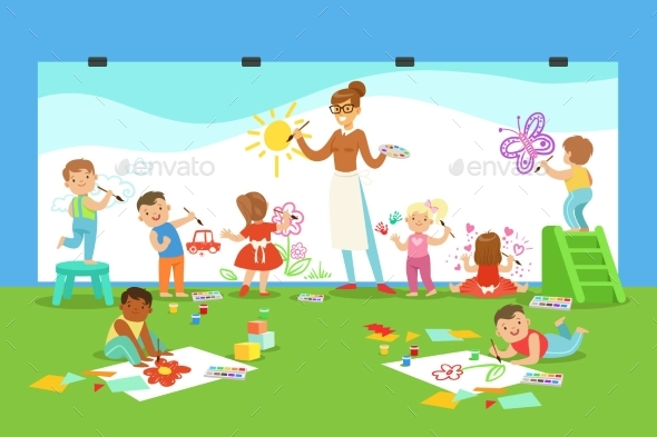 Young Children In Art Class Drawing And Painting - Miscellaneous Vectors