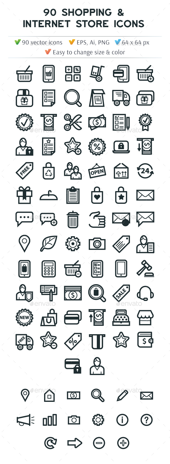 Shopping Internet Store Icon Set - Business Icons