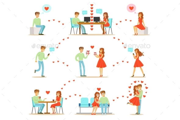 Man And Woman Finding Love And Dating Using Dating - People Characters