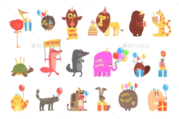 Funky Animals With Party Attributes At The Kids - Animals Characters