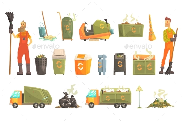 Waste Recycling And Disposal Related Object Around - Miscellaneous Vectors