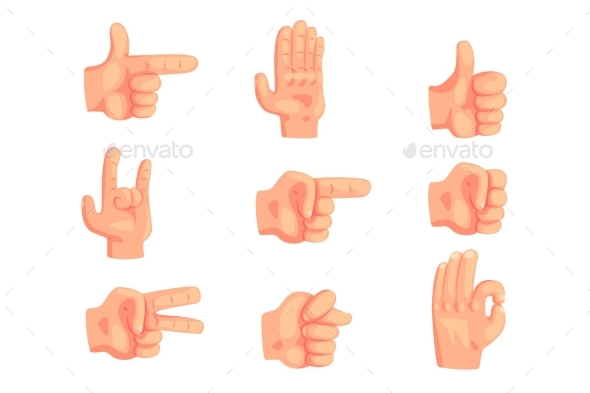 Conceptual Popular Hand Gestures Set Of Realistic - Miscellaneous Vectors