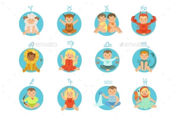 Babies In Twelve Zodiac Signs - Miscellaneous Vectors