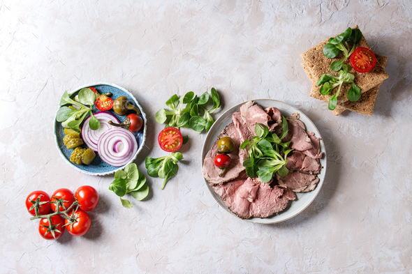 Ingredients for beef sandwiches - Stock Photo - Images