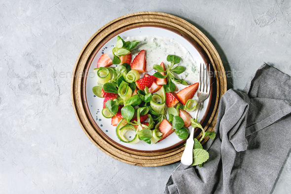 Strawberry cucumber salad - Stock Photo - Images