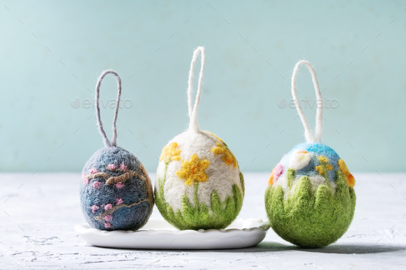 Felting Easter eggs - Stock Photo - Images