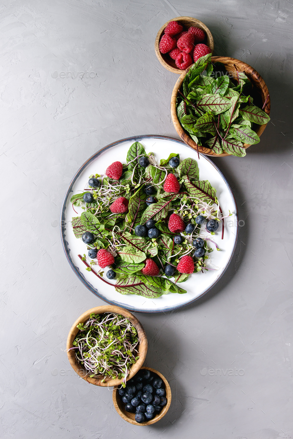 Green salad with berries - Stock Photo - Images