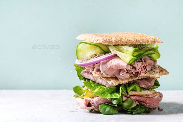 Big beef sandwich - Stock Photo - Images