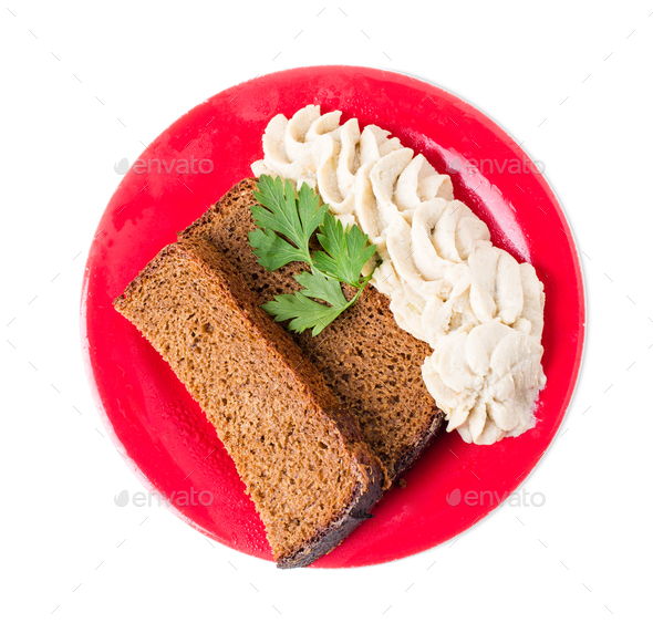 Rye bread with minced pork fat. - Stock Photo - Images