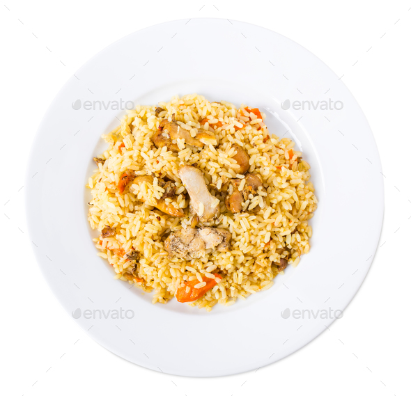 Delicious chicken pilaf. - Stock Photo - Images