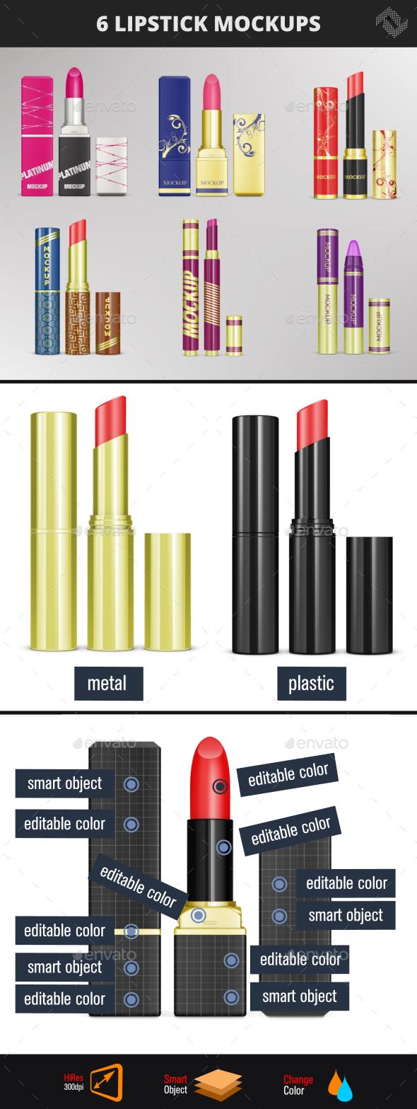 6 Lipstick Mockups - Packaging Product Mock-Ups