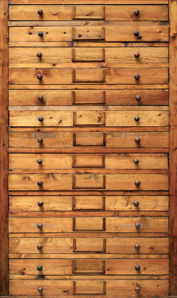 Wooden cabinet with drawers - Stock Photo - Images