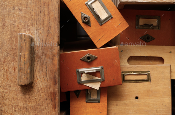 Disorderly group of wooden drawers - Stock Photo - Images