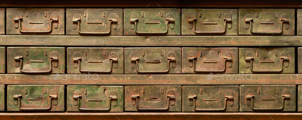Rusty metal cabinet with drawers - Stock Photo - Images