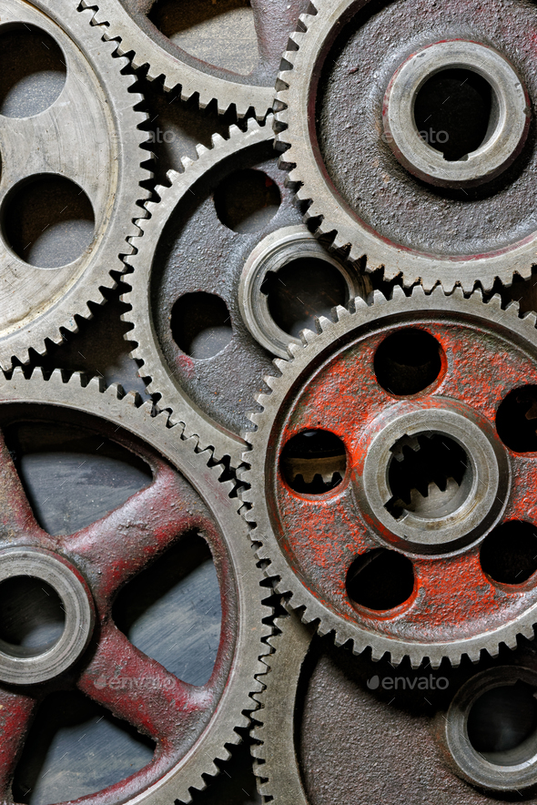 Group of old steel cogwheels - Stock Photo - Images