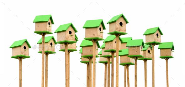 Green birdhouses - Stock Photo - Images