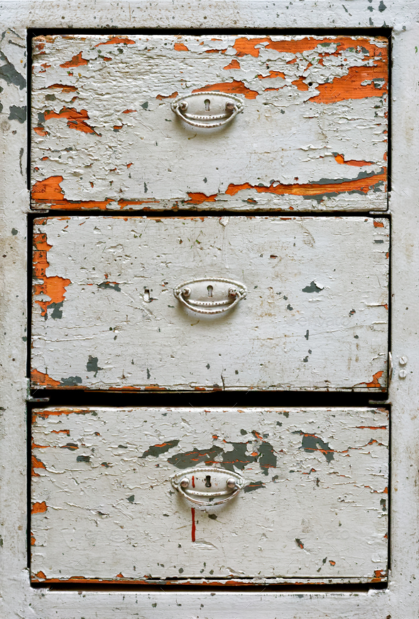 Very old painted drawers cabinet - Stock Photo - Images