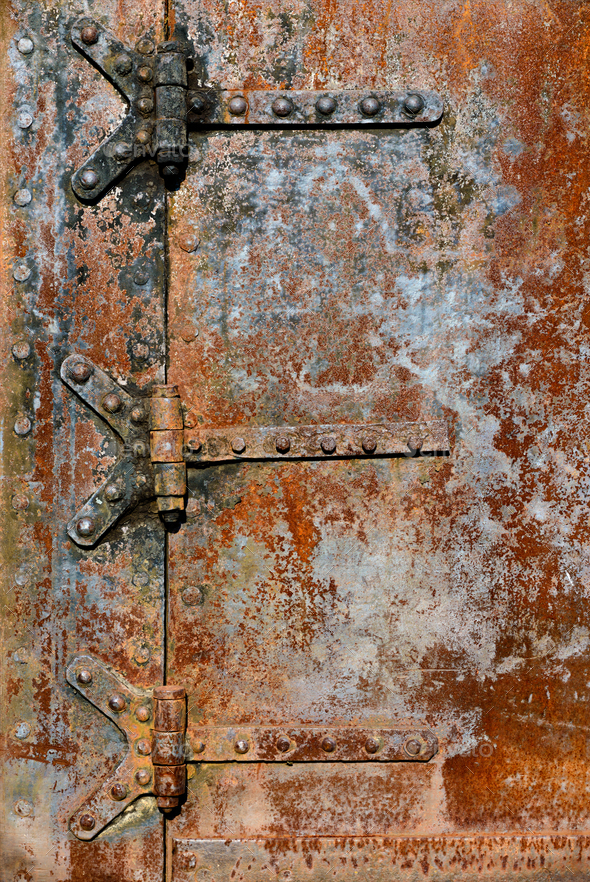 Rusty metal door details - Stock Photo - Images