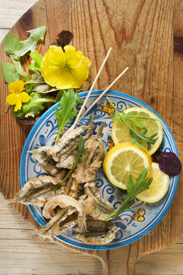 Fry of blue fish - Stock Photo - Images