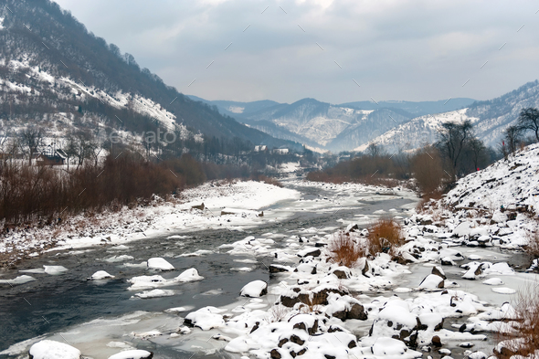 Beautiful winter landscape with river - Stock Photo - Images